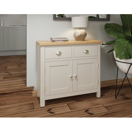Oak City - Dorset Painted Truffle Grey Oak 2 Door 2 Drawer Small Sideboard