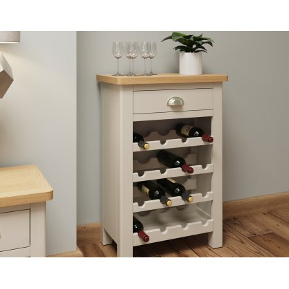 Oak City - Dorset Painted Truffle Grey Oak Wine Rack Cabinet