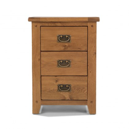 Oak City - Monaco Rustic Oak 3 Drawer Bedside