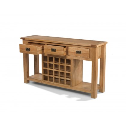 Oak City - Monaco Rustic Oak Large Sideboard With Wine Rack