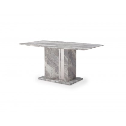Amara Marble Dining Table Set & 4 Grey PU Dining Chairs