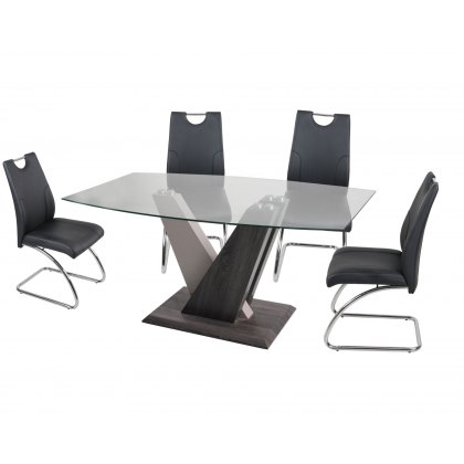 Zen Glass Dining Table Set & 4 Dining Chairs in Black