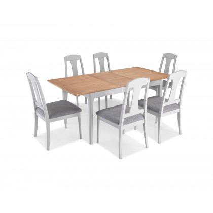 Marlow Painted Grey Oak Extending Dining Table Set