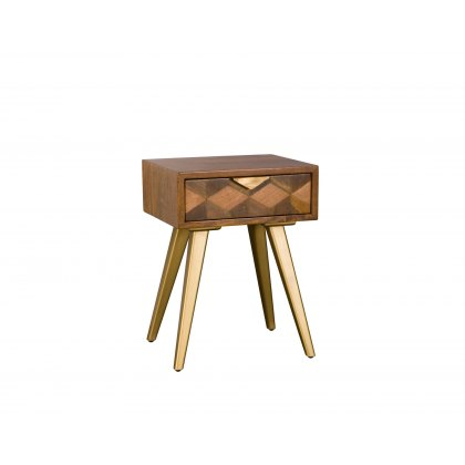 Boxer Mango Wood 1 Drawer Bedside Table with Brass Gold Legs