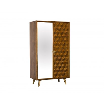 Boxer Mango Wood Double Wardrobe with Brass Gold Legs