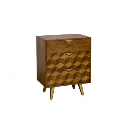 Boxer Mango Wood 3 Drawer Chest of Drawers with Brass Gold Legs