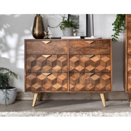 Boxer Mango Wood 6 Drawer Wide Chest of Drawer with Brass Gold Legs