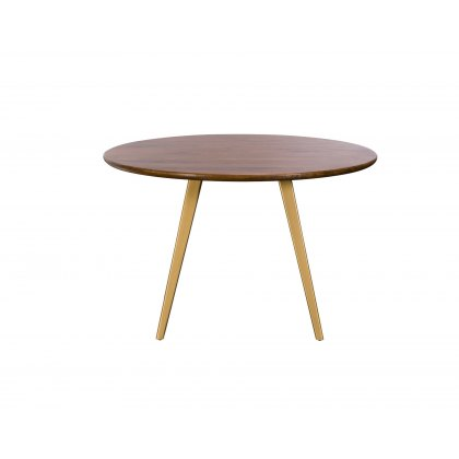 Geometric Mango Wood 120cm Round Dining Table with Brass Gold Legs
