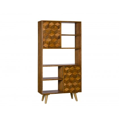 Geometric Mango Wood Bookcase with Brass Gold Legs