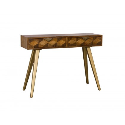 Geometric Mango Wood Console Table with Brass Gold Legs