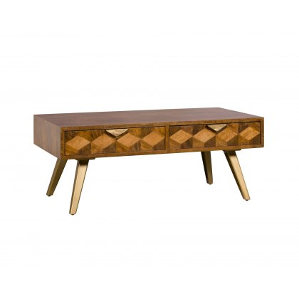 Geometric Mango Wood Coffee Table with Brass Gold Legs