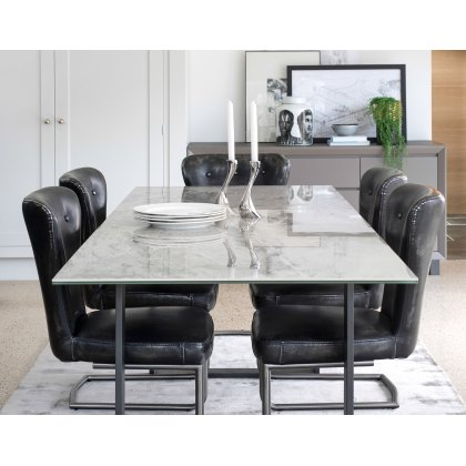Costa Rica Marble Effect Extending Dining Table Set