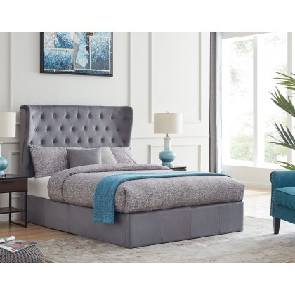 Holcombe Ottoman Bed Frame in Grey Plush Fabric