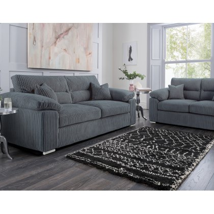 Lucinda Home 3 Seater Sofa in Grey Fabric