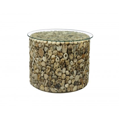 Driftwood Drum Lamp Table Glass Top