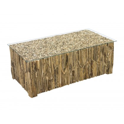 Driftwood Rectangular Coffee Table with Glass Top