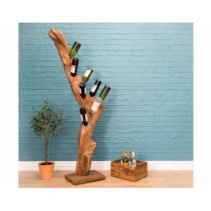 Freestanding Teak Branch Wine Rack for 8 Bottles