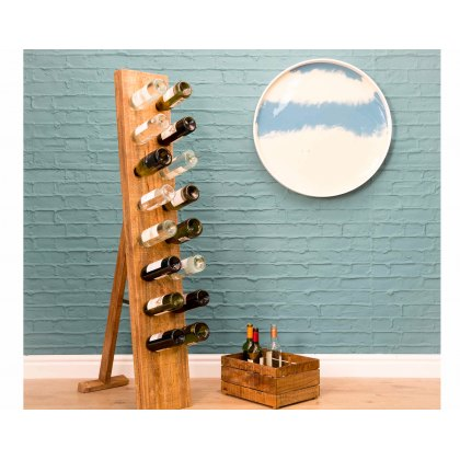Re-Engineered Mango Wood Wine Bottle Display Rack