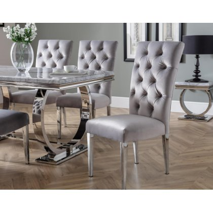 Arundel Marble Dining Table Set & 6 Chairs