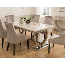 Arianna Cream Marble 180cm Dining Set - Table + 6 Belvedere Pewter Chairs