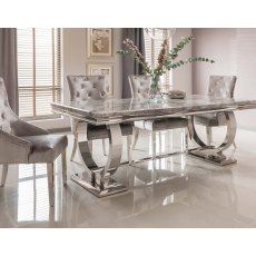 Arianna Grey Marble 180cm Dining Set - Table + 6 Belvedere Pewter Chairs