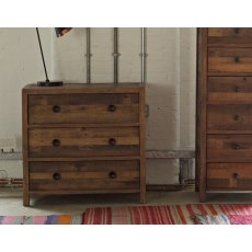 Grant Reclaimed Wood 3 Drawer Wide Chest of Drawers