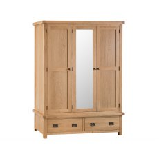 Light Rustic Oak 3 Door Wardrobe With Mirror