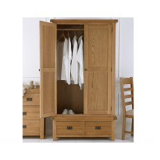 Light Rustic Oak 2 Door 2 Drawer Wardrobe
