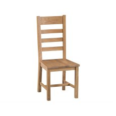 Light Rustic Oak Ladder Back Dining Chair Wooden Seat