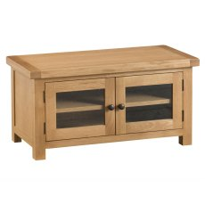 Light Rustic Oak Standard TV Unit With Glazed Doors