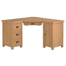 Light Rustic Oak Corner Computer Desk