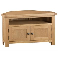 Light Rustic Oak Corner TV Unit