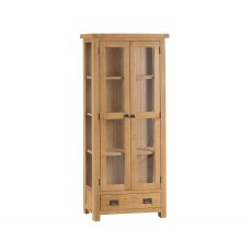 Light Rustic Oak Display Cabinet With Glass Doors