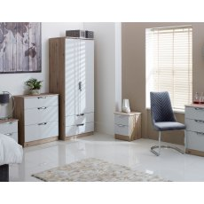"Cordoba Tall 2'6"" 2 Drawer Mirror Wardrobe"