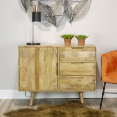 Oak City - Aztec Solid Mango Wood Small Sideboard
