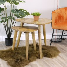 Oak City - Aztec Solid Mango Wood Nest Of Tables