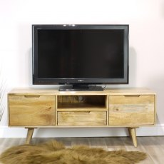 Oak City - Aztec Solid Mango Wood Large TV Unit