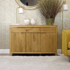 Oak City - Stockholm Oak 3 Door Sideboard