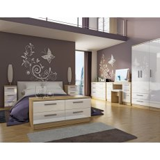 Belgravia High Gloss Tall Triple 2 Drawer Mirror + Drawer Wardrobe
