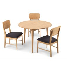 Henley Solid Oak Circular Dining Table Set & 3 Dining Chairs