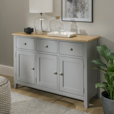 Oak City - Nebraska Oak Dark Grey 3 Door 3 Drawer Sideboard | Moles Breath Grey