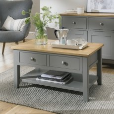 Oak City - Nebraska Oak Dark Grey Coffee Table | Moles Breath Grey