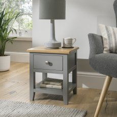 Oak City - Nebraska Oak Dark Grey Lamp Table | Moles Breath Grey