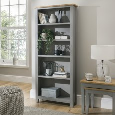 Oak City - Nebraska Oak Dark Grey Large Bookcase | Moles Breath Grey