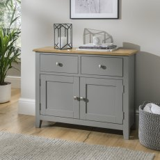 Oak City - Nebraska Oak Dark Grey Small Sideboard | Moles Breath Grey