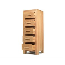 Oak City - Cuba Chunky Oak 5 Drawers Tall Chest