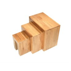 Oak City - Cuba Chunky Oak Nest Of 3 Tables