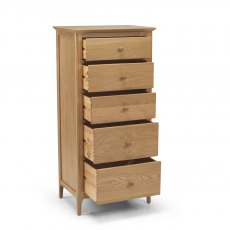Oak City - Oregon 5 Drawer Tall Chest of Drawers
