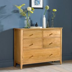 Oak City - Oregon 5 Drawer Wide Chest of Drawers