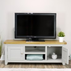 Oak City - Sydney Painted French Grey 134cm Large TV Stand